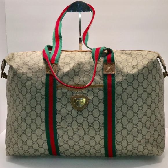 699451fb Authentic Gucci Vintage GG plus Canvas Travel Bag